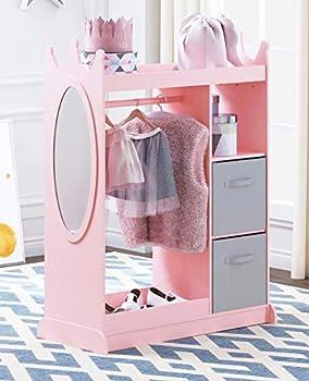 UTEX Kids Dress up Storage with Mirror and Storage Bin,Kids Armoire Dresser with Mirror Costume Closet for Kids Pretend Storage Closet for Kids,Costume Storage Dresser Pink