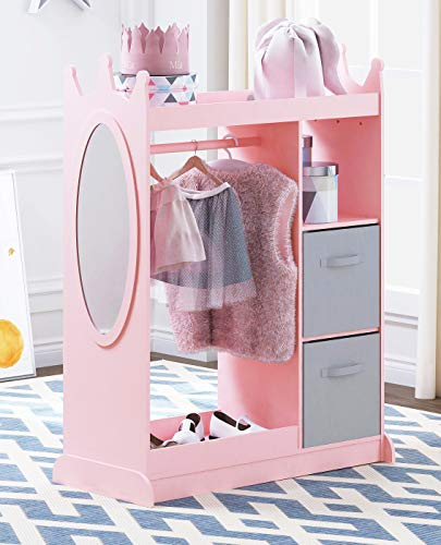 UTEX Kids Dress up Storage with Mirror and Storage Bin,Kids Armoire Dresser with Mirror, Costume Closet for Kids, Pretend Storage Closet for Kids,Costume Storage Dresser(Pink)
