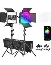 Neewer Set van 2 660 RGB LED-verlichting met app-besturing, fotografie videoverlichtingsset, 660 SMD LED's, CRI95/3200K-5600K/helderheid 0-100%/0-360 instelbare kleuren/9 toepasselijke scènes