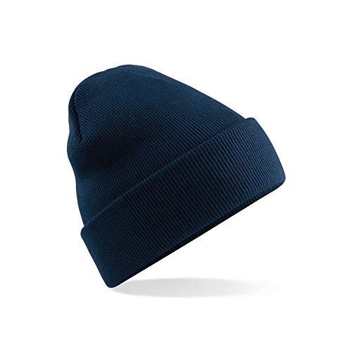 lanying Damen Beanie Mütze,Mütze gestrickt Herbst- und Wintermütze weich und warm, Skimütze Outdoor-Sportmütze-Navy blau_Einheitsgröße