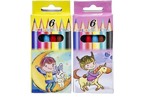 Schnooridoo 48 Buntstifte 8,5 cm - 6 Farben Malstifte - Mitgebsel Kindergeburtstag Schule Schulranzen Büro