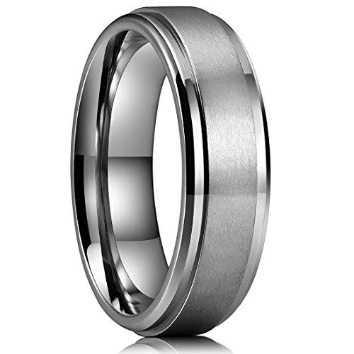 King Will BASIC 6mm Mens Titanium Wedding Ring Brushed Finished Wedding Band Comfort Fit Stepped Edge 8.5