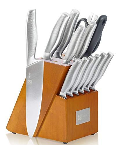 T.J Koch Knife Set Stainless Steel Knives Premium Non-slip Single Piece with Golden Oak Block Kitchen Scissors Sharpener Rod 14-piece