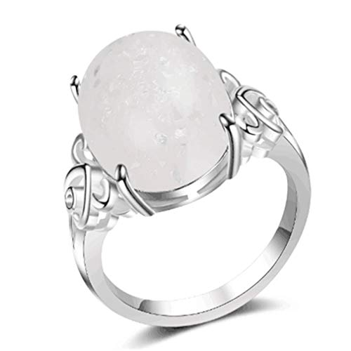 YAZILIND Silver Wedding Ring Exaggerated Oval Opal Statement Rings Ladies Anniversary Jewelry (Size L 1/2)