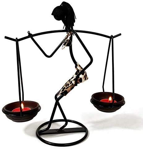Rhelf Escultura estatua regalo niña candelabro candelabro de metal candelabro romántico hierro carácter escultura regalo de cumpleaños, guepardo candelero creativo candelabro forjado hierro candela co
