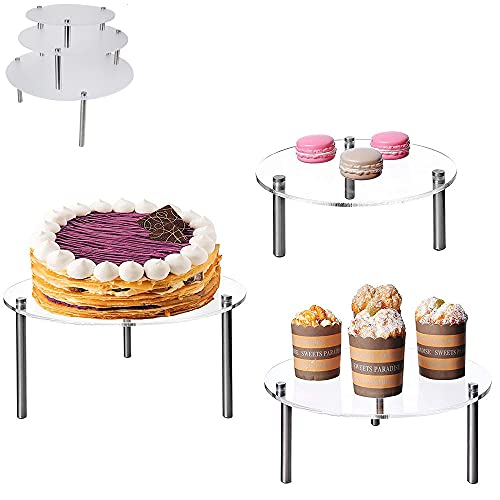 3 Pcs Round Clear Acrylic Cake Stands, Cupcake Dessert Cake Holder Set, 3 Pack Acrylic Cupcake Display Set for Birthday Wedding Party Baby Shower Servings Platter Tower Decorations Clear