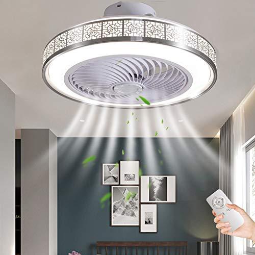 Ventilador De Techo LED Iluminación Regulable Con Control Remoto Lámpara De Techo 72W Velocidad De Viento Ajustable Ventilador Moderno Luz De Techo Sala De Estar Dormitorio Cocina Fan (Silver)