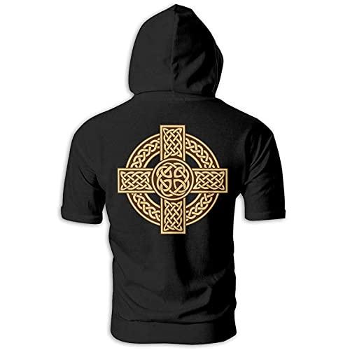 Celtic Cross Irish Scottish Men'S Short Sleeve Fashion Athletic Hoodies Black
