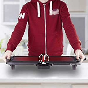 Duronic GP20 Tischgrill  Elektrogrill   Grillplatte   52 x 27 cm Grillfläche   2000 Watt   Antihaftbeschichtung   Thermostat   elektrisch  abnehmbarer Auffangbehälter   Kochen ohne Fett