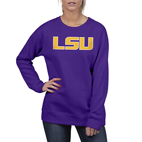 Top of the World Lsu Tigers Women's Essential Crewneck Fleece Sweatshirt, Small