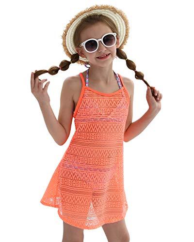 DUSISHIDAN Mädchen Bikini Poncho Strandkleid Hohle Bluse Bikini Cover Up Sommer Standponcho Volltonfarbe, Hellorange, 164-176 XL(14)