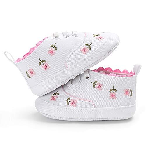 Geagodelia Scarpe Sneaker Principessa Fiore Suola Bambina Bambina Morbida Suola Culla Bambino (Bianco, 1(11CM))