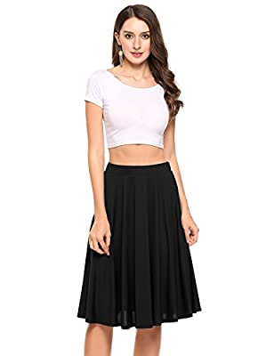 Shine Women's A Line Street Swing Skirt Skater Pleated Knee Length Skirt with Elastic Waist