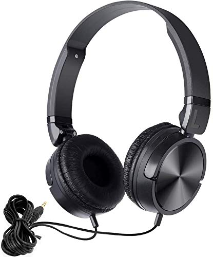 NAVISKAUTO Wired Headphones, Foldable Wired Headset with 1.2m Audio Cable Universal Black