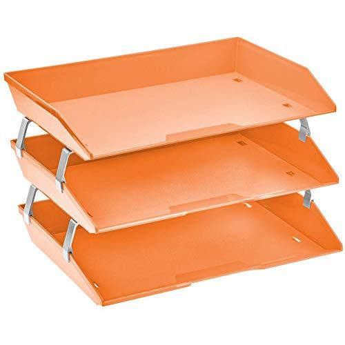 Acrimet Facility Organizzatore di Documenti in Plastica a 3 Ripiani Laterale Vaschette Portadocumenti per Ufficio (Arancione Acceso)