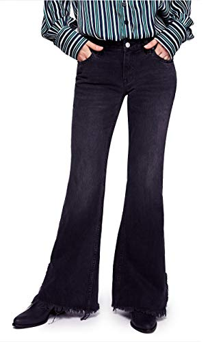 We The Free Womens Denim Frayed Flare Jeans Black 28