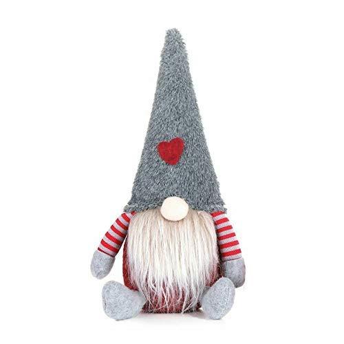 Weihnachtsnomen Plüsch gestrickt Santa Puppe, handgefertigte Weihnachten Gonk Zwerg Elf Figuren Tischdekoration, Haushaltshaus Fachlose Puppen Geschenke Ornamente, Urlaub Tisch Kamin Dekorationen (gra