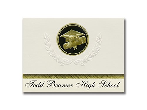 Signature Announcements Todd Beamer High School (Federal Way, WA) Graduation Announctions, Presidential Style, Elite Paket mit 25 Kappen & Diplom-Siegel, Schwarz & Gold