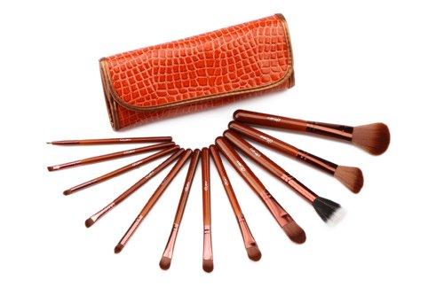 Glow brun professionnel 12 lot pinceaux maquillage trousse en cas exquisge Brush Set