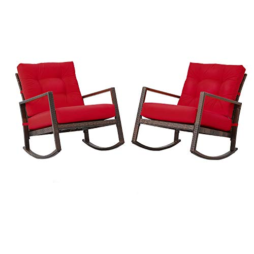 Oakmont Outdoor Furniture Patio Rocking Wicker Bistro Set, Smooth Gliding Rocker Armchair (Red)