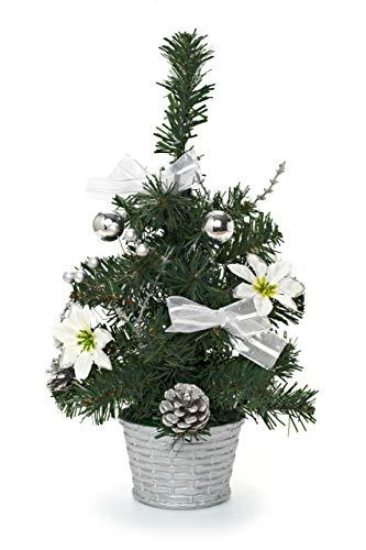 HEITMANN DECO dekorierter Weihnachtsbaum - Kleiner künstlicher Tannenbaum geschmückt - Weihnachtsdeko - Weiß, Silber