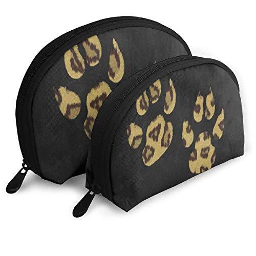 Kosmetiktasche Hipster Leopard Paw Print Schwarz Tragbare Shell Kosmetiktaschen Für Mädchen Weihnachtsgeschenk Pack - 2