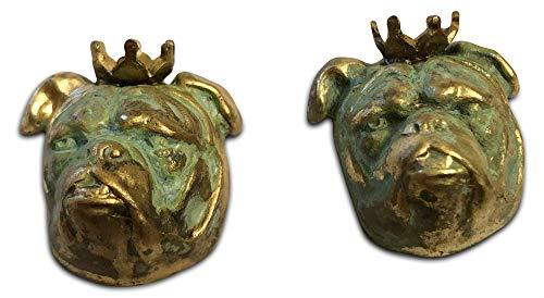 Alexandra Vintage Patina Gold English Bulldog with Crown - Vintage Design - Bulldog Dog Charm