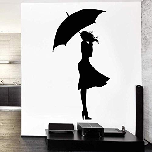 Tatuajes de pared Sexy Girl Rain Autumn Love Vinilo Adhesivo 50x88cm