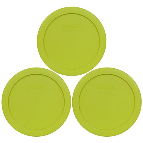 Pyrex 7201-PC Round 4 Cup Storage Lid for Glass Bowls (3, Edamame Green)