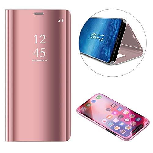 Latich Funda para Xiaomi Redmi Note 6 Note 6 Pro Carcasa Espejo Elegante,Estuche con Tapa Flip Libro Soporte Plegable,Rígido de Plástico Galvanizado Mirror Translúcido Case,Oro Rosa