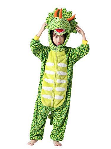 Kids Animal Onesie Cartoon Costume Christmas Halloween Cosplay Pajamas Triceratops Green 6 Years