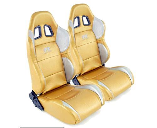 Coppia di sedili ergonomici FK Sportseat auto mezzo secchio set Houston in Motorsport-look