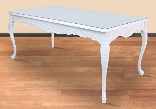Casa Padrino Mesa de Comedor Barroco Blanco 200 x 100 x A. 90 cm - Mesa de Cocina de Madera Maciza con Tapa de Vidrio - Muebles de Comedor barrocos