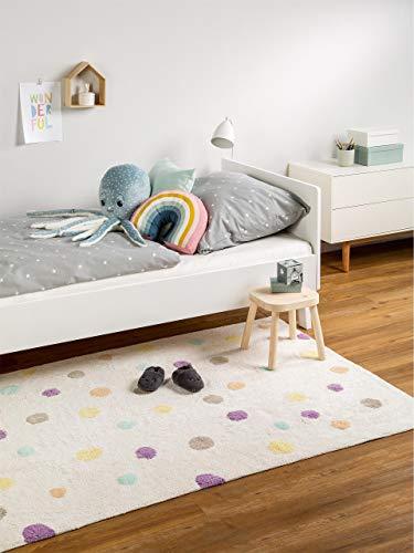 benuta Kinderteppich Bambini Dots, Baumwolle, Beige, 120 x 180.0 x 2 cm