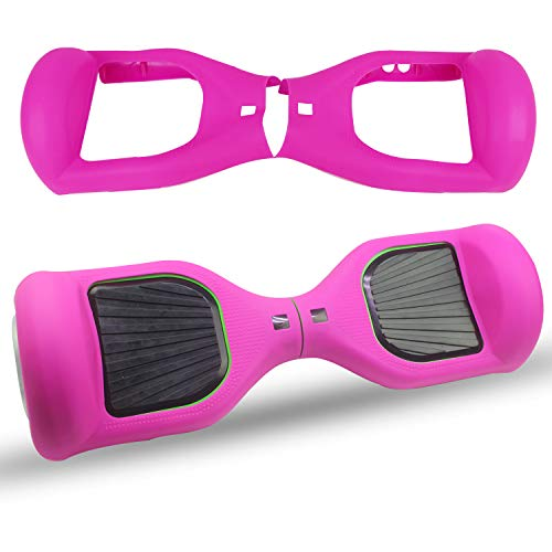 ABBY Scooter Hülle Silikon Schutzhülle für 6,5 Zoll Hoverboard 2 Rader Smart Self Balancing Elektro Scooter Cover (Rose Rot)