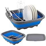 Collapsible Dish Drying Rack with Drainer Board, Foldable Dish Drainer, Portable Dinnerware Organizer for Kitchen & Camper, Space Saving Storage Dish Rack