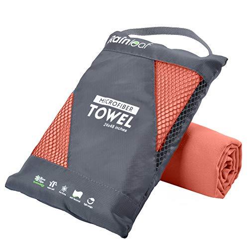 Rainleaf Microfiber Towel,Brick Red,20 X 40 Inches