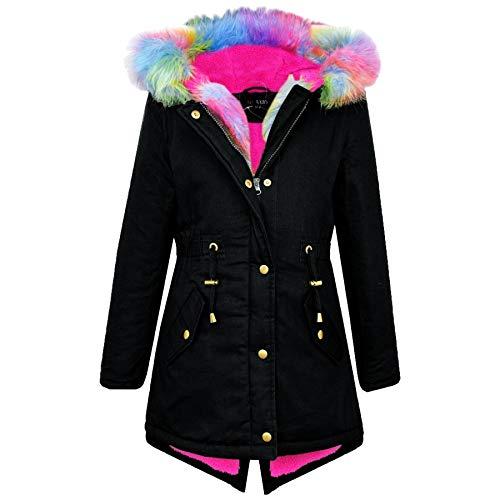 A2Z 4 Kids® Kinder Mädchen Mit Kapuze Jacke Designer Regenbogen Pelz - Parka Jacket Rainbow Fur Black 11-12