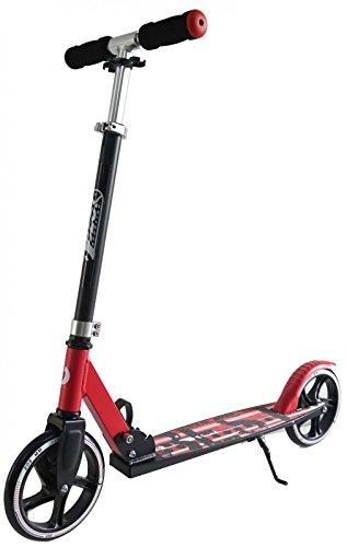 Best Sporting Scooter 205er Rolle, City-Roller mit großer Trittfläche, Klapp-Ständer und Schaumstoff-Griffen, Tretroller in rot/schwarz