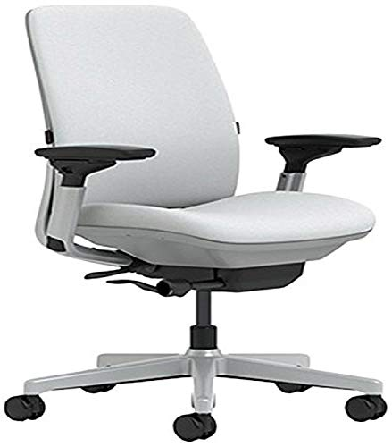 Steelcase Amia Chair with Platinum Base & Standard Carpet Casters, Alpine