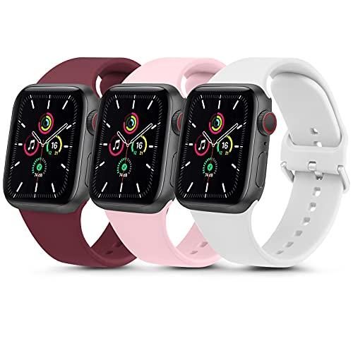 QULI Juego de 3 pulseras compatibles con Apple Watch, 44 mm, 38 mm, 40 mm, 42 mm, de silicona deportiva, compatible con iWatch SE Series 6 5 4 3 2 1 (38 mm/40 mm, rojo vino, rosa/blanco)