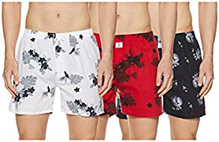 Longies Men's Printed Boxers (Pack of 3)