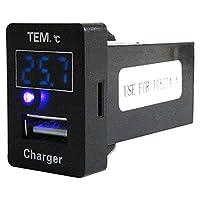 トヨタAタイプ アリオン DBA-##T26T H19.6~ LED/ブルー 温度計+USBポート 充電 12V 2.1A 増設 パネル USBスイッチホールカバー 電源