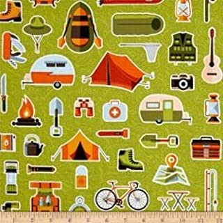 1/2 Yard - Let's Go Camping on Green Cotton Fabric - a Patrick Lose Design (Great for Quilting, Sewing, Craft Projects, Quilt, Throw Pillows & More) 1/2 Yard X 44