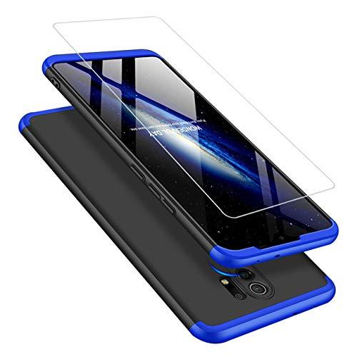 Joytag Funda Xiaomi Redmi 9 Carcasa Cristal Templado 360 Grados Caja 3 en 1 PC Case-Azul Negro