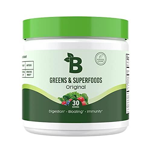 Bloom Nutrition Green Superfood   Super Greens Powder Juice & Smoothie Mix   Complete Whole Foods (Organic Spirulina, Chlorella, Wheat Grass), Probiotics, Digestive Enzymes, & Antioxidants (Original)