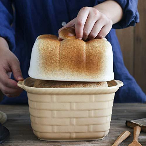 WJHCDDA Creative Ceramics Molde para Hornear Pan Tostado Molde con Forma de Pan, Molde para Pan con Tapa, Utensilios para Hornear no Adhesivos para Hornear Pan, Pasteles, panadería A 18x21cm (7x8 PU