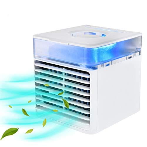 Ventilador de Aire Acondicionado portátil, refrigerador de Aire evaporativo Mini con 7 Colores, Ligh de 3led, Velocidad de hormigueo y Modos 2PRAY para Oficina, hogar, Dormitorio, Viajes (Blanco)