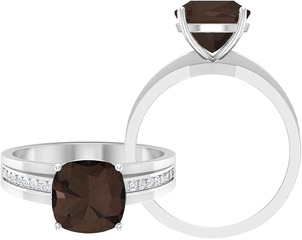 June Birthstone - 2.75 CT Cushion Cut Smoky Quartz Two Tone Engagement Ring with Moissanite Accents (AAA Quality), 14K Gold