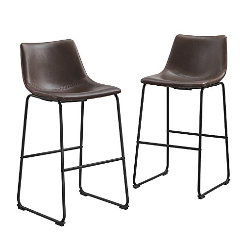 Walker Edison Furniture Company 30' Industrial Faux Leather Armless Indoor Kitchen Dining Chair Barstool with Metal Legs Upholstered, Set Of 2, Brown